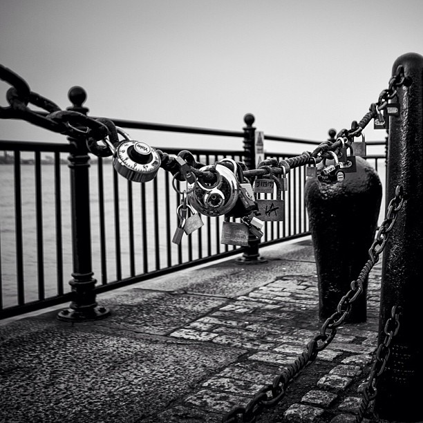Love locks at the Albert Dock #love #lovelocks #locks #albertdock #liverpool #blackandwhite #nikon #D7000 #mersey #shadows