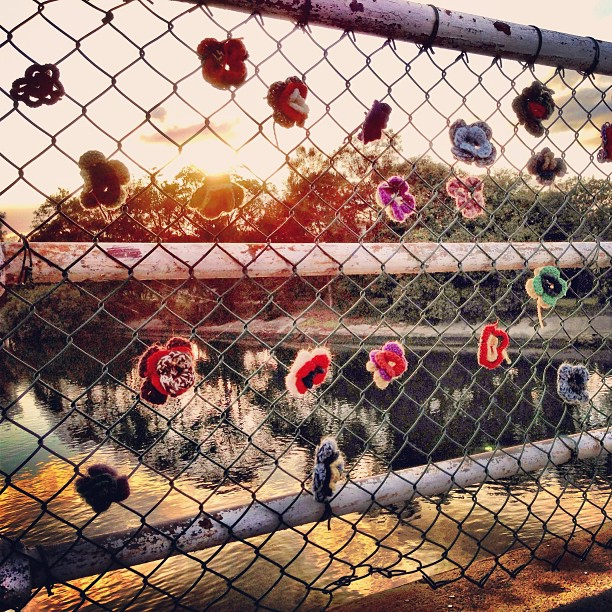 #sunrise #bridge #lovelocks #makelovelocks #creek #water #instamood #instasky #sky #relflection #fence #iphonography #instagroovy