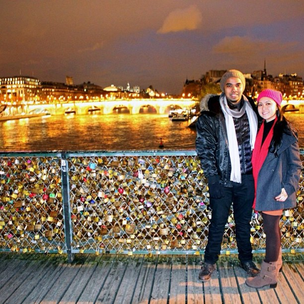Thank you @iskmvrk for the awesome shot! #paris #france #bridge #love #locks #scenic #sunset #riverseine #seine #lights #reflection #honeymoon #couple #marriage #bliss