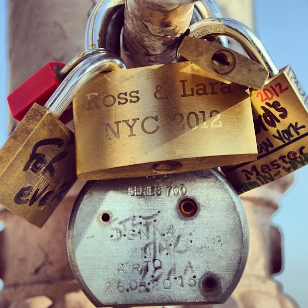Love lockdown on the BK Bridge. Great precursor to Paris! #nyc #newyorkcity #brooklyn #brooklynbridge #ilovenyc #art #love #lovelocks #instagood