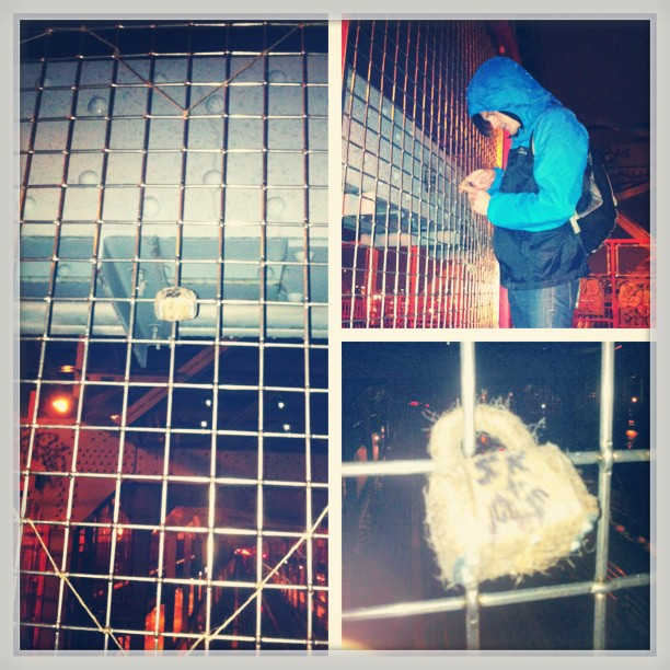 Our love is locked and the keys are at sea. #lovelock #nyc #williamsburgbridge #adventures #ninjamissions @areyou_keating_me