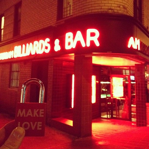 Make Love #makelovelocks #love #lovelocks #luv #nyc #amsterdambilliardsandbar #poolshark