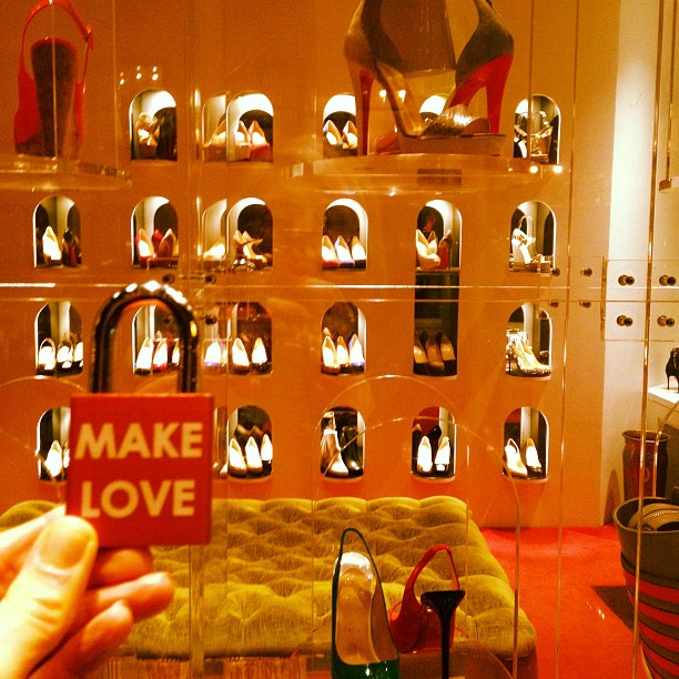 Make Love in @christianlouboutinfrance #makelovelocks #lovelocks #love #christianlouboutin #nyc www.makelovelocks.com