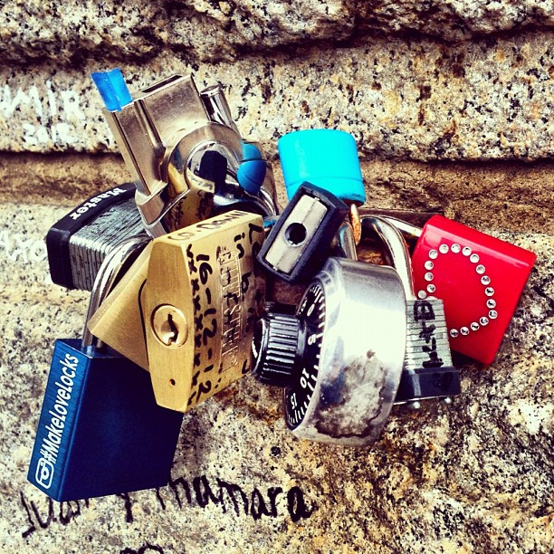 Love locks on the Brooklyn Bridge.