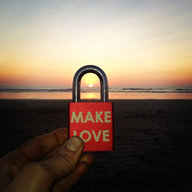 Make Love #makelovelocks #love #lovelocks #luv #sunset #costarica #beach #nosara #cocktailhour