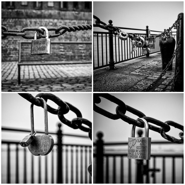 Love Locks at the Albert Dock Liverpool UK #PicFrame #love #locks #LoveLocks #blackandwhite  #nikon #d7000 #photooftheday #picoftheday #ig #instagram #chains #padlocks #city