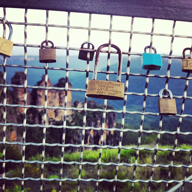 Love locks at the three sisters... So beautiful #lovelocks