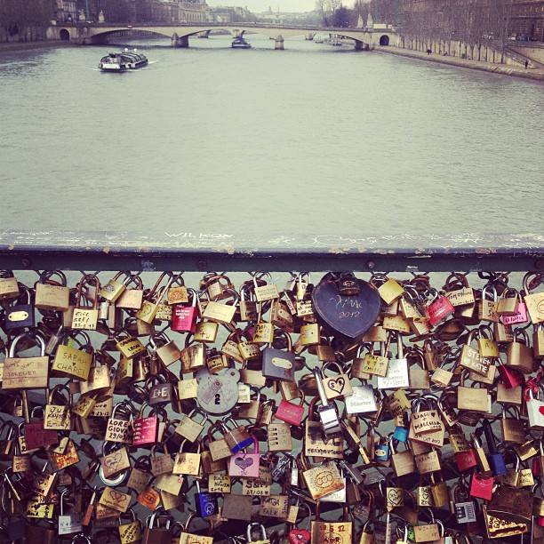 Dreaming of falling in love at the Pont des arts #pontdesarts @love #lovelocks #paris