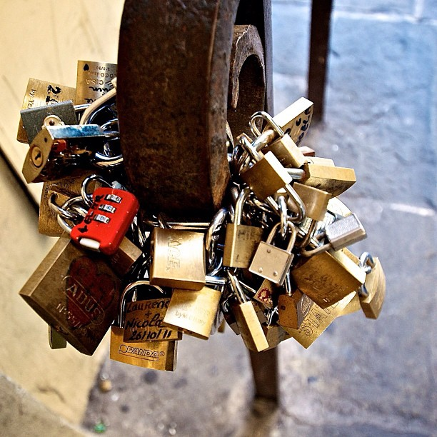 Love padlocks at ponte vecchio