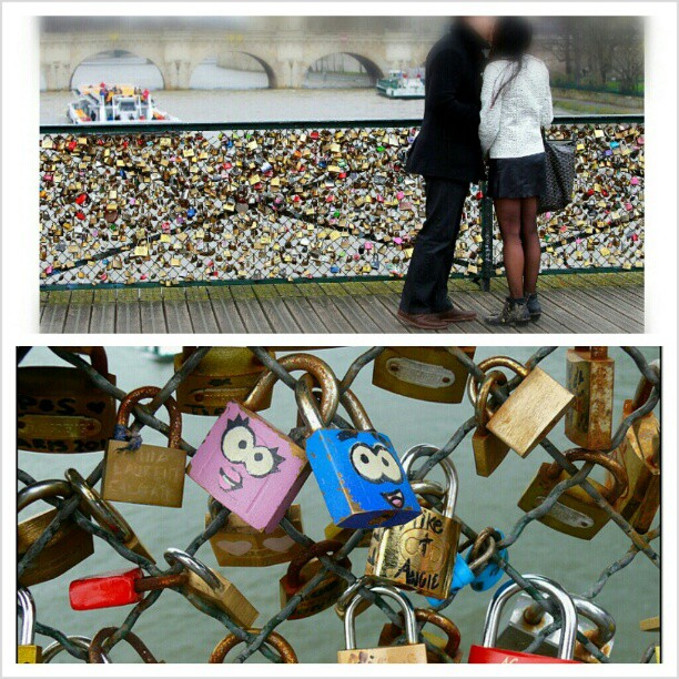 I've always heard of the romantic bridge Pont des Arts in Paris where couples write their initials on a padlock, lock it onto the bridge and throw away the keys into Siene river. #BucketList #LoveLocks