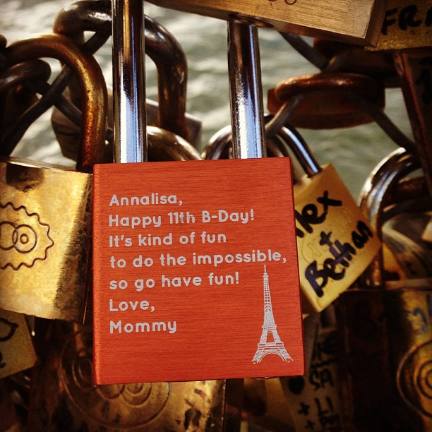 I was able to make our trip to #Paris and my daughter's (@sillyagdoll) birthday that much better thanks to the handy work of @makelovelocks #makelovelocks. #pontdesarts