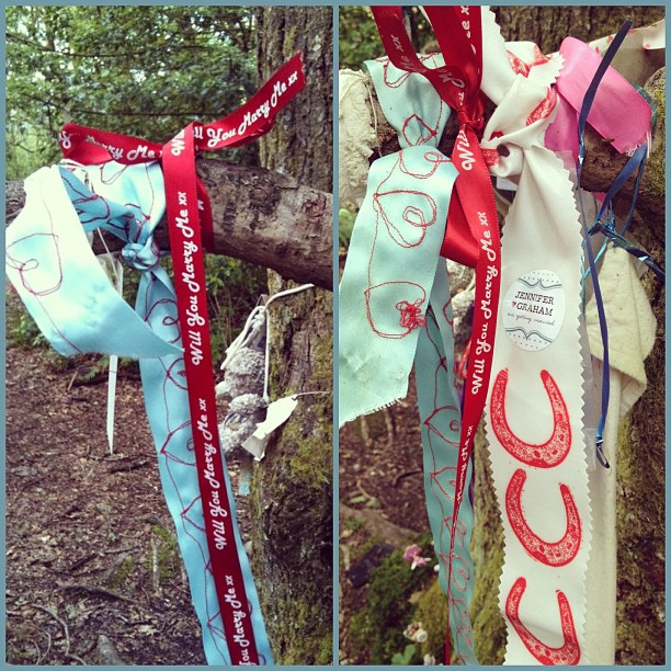 #proposal 2011 & one year later still there 2012 ❤ #doonhill #fairytrail #aberfoyle #ribbon #wishtree #clootiewell