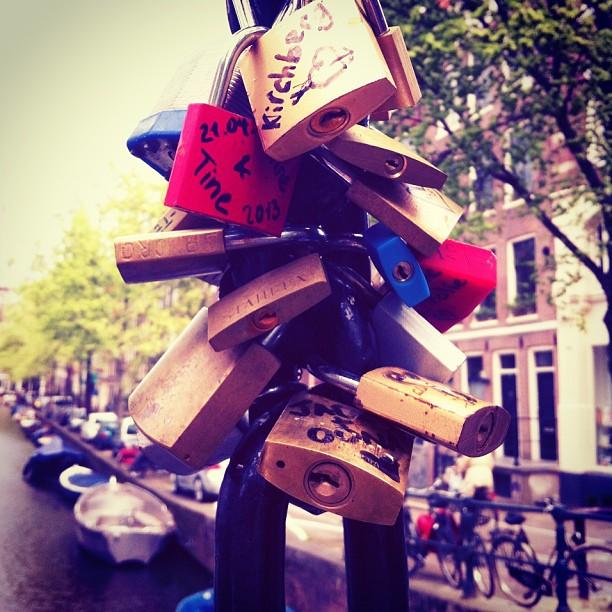#amsterdam #holland #netherlands #citybreak #sightseeing #bridge #lovelocks #padlocks #lovepadlocks #love #canal #boat #bikes
