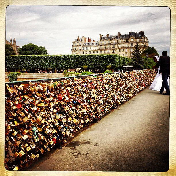 Bride and groom and love locks.