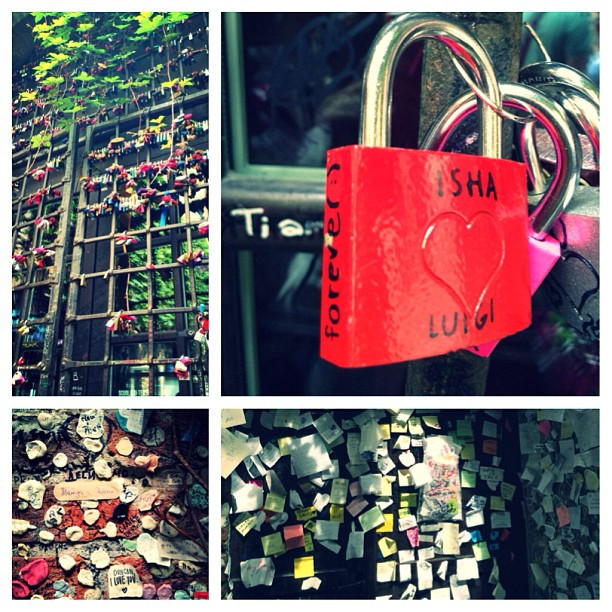 At Casa di Giulietta, some leave locks, others paper notes, some prefer non conventional items (e.g. chewed gum and band aids). I went with a love lock because I've always wanted to try to hang one somewhere. This seemed to be the perfect place  </p> <span class=