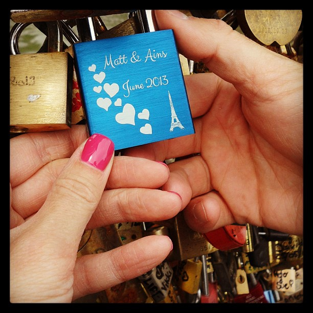 Yes we're big dorky losers #pontdesarts #lovelocks