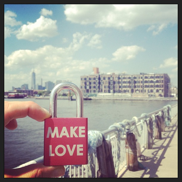 Redhook revival #makelove #makelovelocks #lovelocks #redhook #brooklyn #memories #bridge #sandy #sandyrelief #summer #summatime #bike #proposal #engaged #lockbridge #pier #love #life #happy