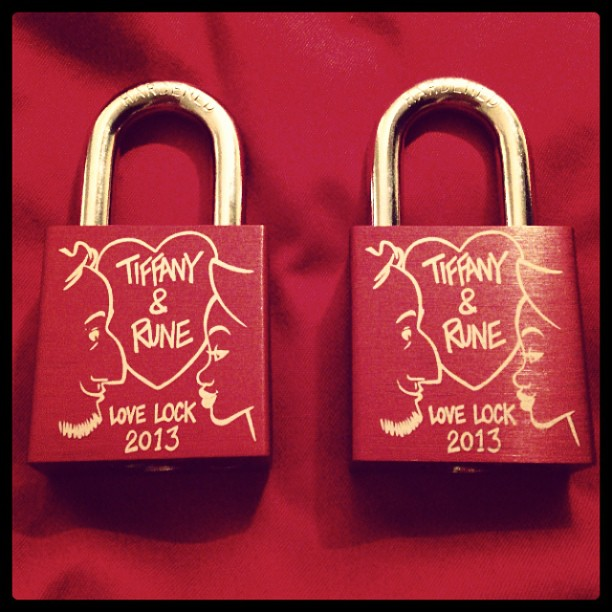 Our love locks just arrived in the mail TODAY! Just in time for Europe.❤❤ We had these custom made by Makelovelocks.com -Great company with some wonderful people!☺ The design is by Rune Bennicke </p> <span class=