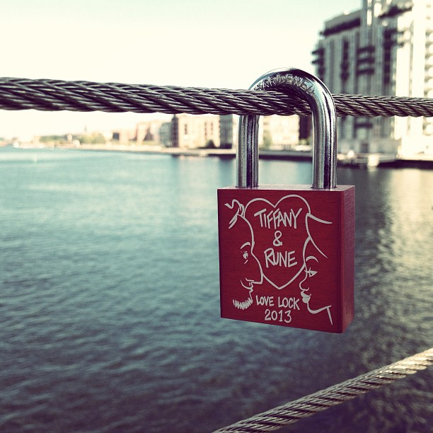 Rune and I made the trip to Islands Brygge today, to exhibit our very first Love Lock in Denmark!❤ </p> <span class=