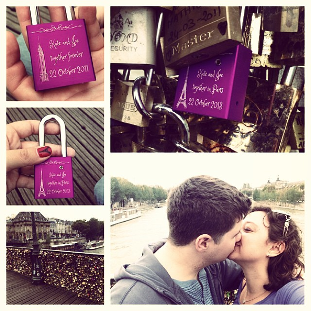 October 22, 2013 I am so lucky to be married to the most amazing person...and even more lucky to be celebrating our anniversary in #Paris! ❤️ #pontdesarts #weddedbliss #picaday #picoftheday #makelovelocks #lovelocks #2years #love #lucky #letloverule