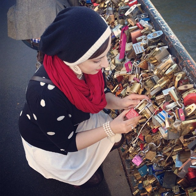Locking our love ️ #makelovelocks #lovelockbridge #jetaimeparis