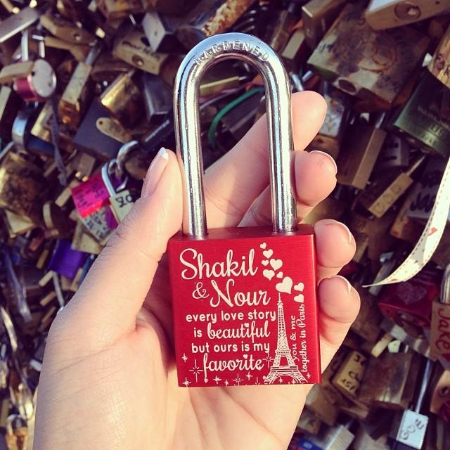 Our love lock ️ #paris #jetaimeparis #makelovelocks #lovelockbridge
