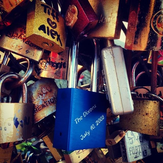 Put our #MakeLoveLocks lock on the Pont de l'Archeveche. #Paris