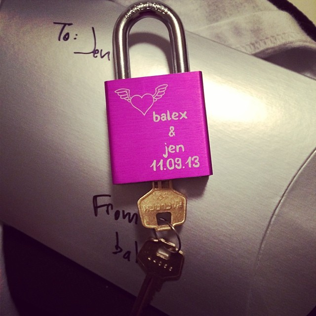 Tower got me love lock.  I have had the hankering to do this ever since I've seen them sprinkle into Pittsburgh.  I am excited but will be a little sad to clip it to the Roberto Clemente bridge.  #makelovelocks
