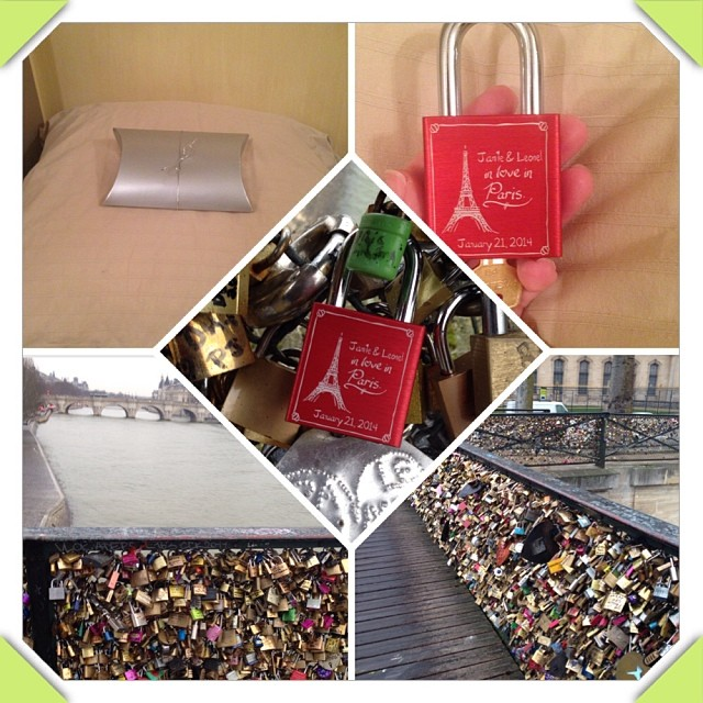 Leo surprised me with a personalized lock to put on the Ponts des Arts! #makelovelocks #Paris