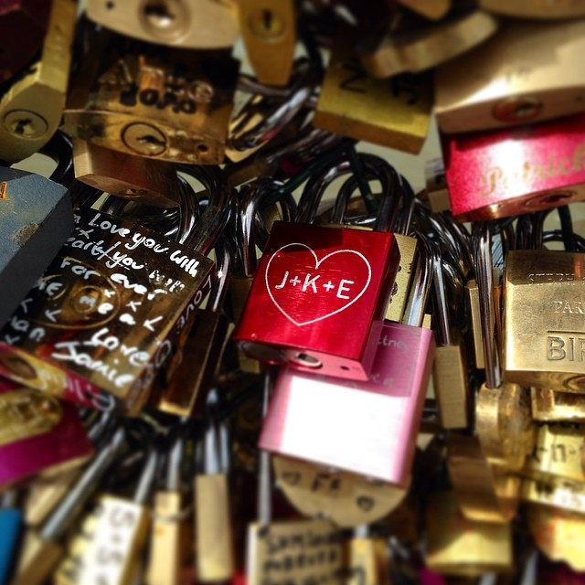 Wondering how my little love lock is doing in Paris  </p> <span class=