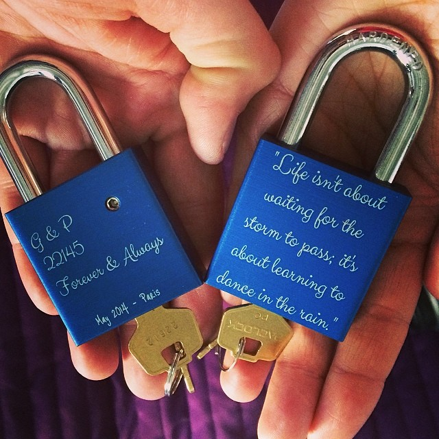 In Paris it's a tradition to put a lock on a bridge over the Siene and throw your key into the river to represent your love lasting forever. I gave Greg a set of locks with our fav quote for his bday. We left one on the Siene today and have one to bring home. Was one of the most amazing moments of my life...better pics to come off our real camera. #loveyoubaby #makelovelocks #forever #paris #france