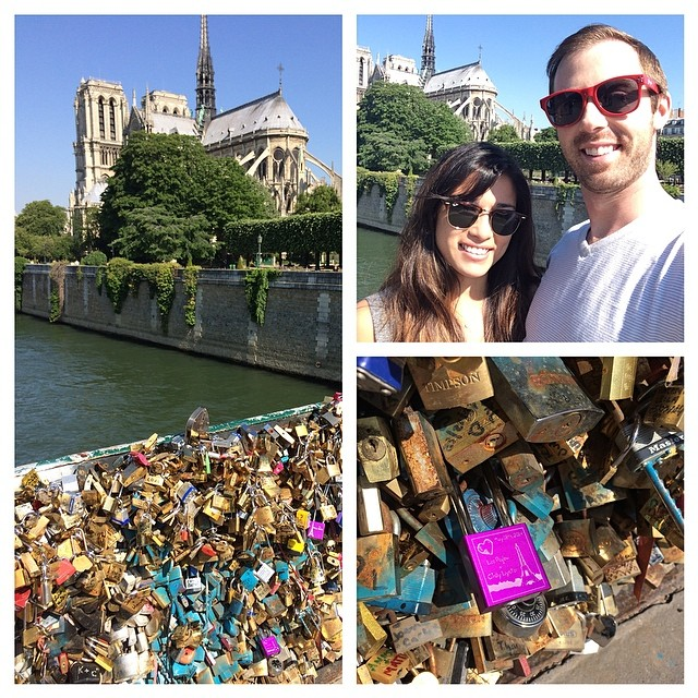 Locked our love at the Lock Bridge! ❤️ #paris #ilovehim #toocheesy #makelovelocks @pghpeglow